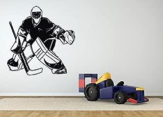 AratikDesigns Removable Vinyl Sticker Mural Decal Wall Art Decor Poster Bedroom Indoor Goalie Mask Sport Sign Logo Playroom Room Hockey Player Game Club Man Cave Fan SA370