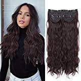LNERATO Long Wavy Hair Extensions for Women Clip In Hair Extensions Wavy Dark Brown Full Head 3PCS Set Thick Synthetic Hair Extensions 20 Inches 260g.