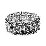 Shop LC Delivering Joy Silvertone Unique Antique Silver Bangle Owl Stretch Bracelet Black Crystal Women Jewelry Size 6.5