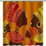 hipaopao African Girl Duschvorhang Afro Festival Stoff Duschvorhang-Sets Badezimmer Dekor mit Haken Wasserdicht Waschbar 183 x 183 cm Gelb Rot Fuchsia