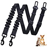 Vivaglory 2pcs Pet Safety Seat Belts, Durable Dog Seat Belt Tether with Bungee Buffer for Shock Absorbing, Restraint Safety Belt for Medium & Large Dogs, L
