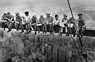 Buyartforless Men ATOP a Skyscraper Steel Beam Lunchtime ATOP NYC by John C Ebbets 36x24 Photographic Art Print Poster Historical Black and White