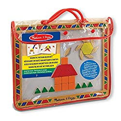 MAGNETIC BLOCKS SET FOR KIDS: The Melissa and Doug Magnetic Pattern Blocks Set comes with a magnetic board surface, 6 double-sided pattern cards,and 120 magnets in a variety of geometric shapesand colours. HANDY CARRYING CASE: The Melissa & Doug Magn...