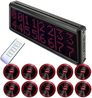 【電波法適合】8番号同時表示 スタッフ呼び出しベル 業務用 ワイヤレスチャイム 番号表示削除機能付き 送信機10個付き (Bタイプ(レッド)) 飲食店向け テーブルチャイム 1年保証
