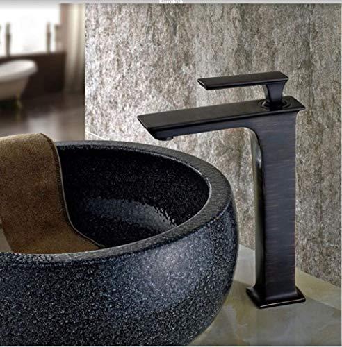 Cuenca Grifos Baño Lavabo del agua de mezclador del grifo baño grifo caliente y fría cromado latón fregadero inodoro KA-190807, Negro con el bronce
