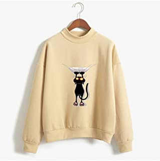 Women's Pullover Sweatshirt, Cute Black cat Striped Pullover, Long Sleeve Casual Jumper Tops Blouse, Clothes Teens Girls Boys