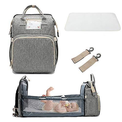 3 in 1 Travel Bassinet Foldable Baby Bed, Portable Diaper Changing Station Mummy Bag Backpack, Portable Bassinets for Baby and Toddler, Travel Crib Infant Sleeper, Baby Nest with Mattress (Gray)