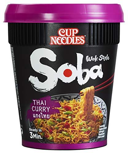 Nissin Cup Noodles Soba Cup – Thai Curry, 8er Pack, Wok Style Instant-Nudeln asiatischer Art, mit Würzsauce, Kokos & Lemongras, schnell im Becher zubereitet, thailändisches Essen (8 x 87 g)
