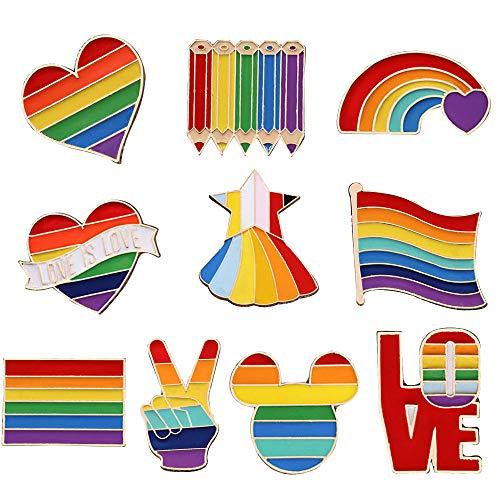 MKSI 10 Pezzi Orgoglio Smalto Spille LGBT, Spille con Smalto Arcobaleno, Gay Pride Pin per Vestiti Borse Giacca Accessori di Artigianato Fai da Te