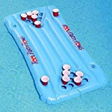 Beer Pong Pool Float -Floating Pong Table with 24 Cup Holes, Inflatable Floating Beer Pong Table Party Pool Lounge Raft for Adults with Cooler Blue,145x60cm