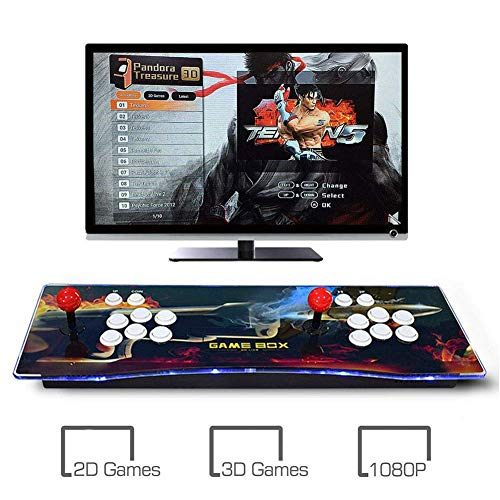 Machine de Jeu vidéo Arcade 2350 Jeux Classiques 2 Joueurs 6 Joystick Arcade Console de Jeux Retro, 1280 * 720 Full HD, Bouton personnalisé, Supporte PS3, Output de HDMI et VGA, Model: BZ-6668
