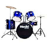 Mendini by Cecilio Complete Full Size 5-Piece Adult Drum Set w/Cymbals Pedal Throne Sticks, Metallic Blue MDS80-BL