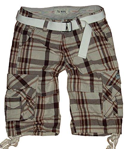 m.g.fashion heren bermuda cargo broek, ruiten met riem BG-00x