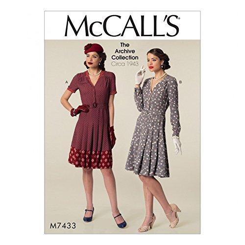 McCall's Damen Schnittmuster 7433,für Hemden, Kleider und Gürtel im Vintage-Stil