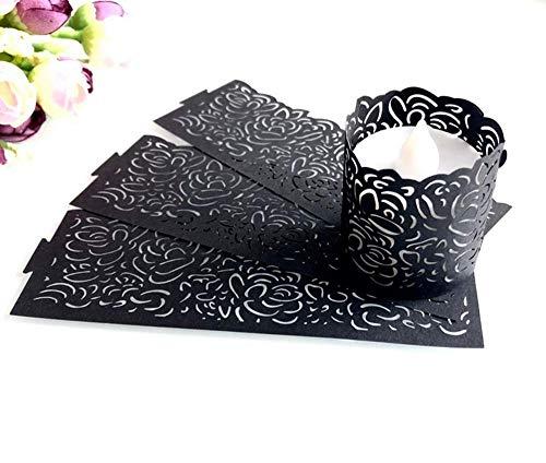 Papier Teelichthalter,24 Pack Schwarz Flammenlose LED Teelicht Votivkerzen Papier Wrapper Kerzenhalter mit Laser Cut Herz Motiv für Dekoration