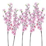 WINOMO Ramo de flores artificiales de flores de melocotón, flores falsas de seda para el hogar, boda, fiesta de cumpleaños decoración (6 unidades, rosa)