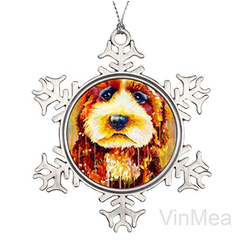 yyone Snowflake Ornaments Gift Tags Decor for Holiday Party,Crafting,Wedding,Christmas Trees and Embellishing Colorful Painting Sad Airedale Terrier