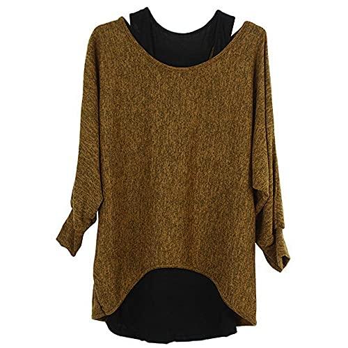 Camisa Mujer Ropa De Manga Larga Wo Piezas Chaleco+t Shirt Set Plus Size Casual