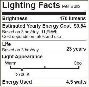 Bioluz LED 6 Pack Clear Dimmable Filament LED G25 Globe 40 Watt Replacement (Uses 4.5 Watts) Warm White (2700K) LED Light Bulb 470 Lumens UL Listed & Great Vanity Bulbs