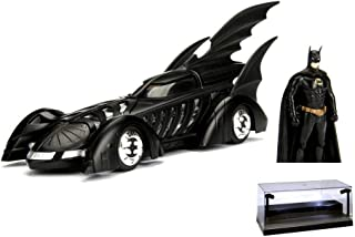 Diecast Car w/LED Display Case - 1995 Batmobile Batman Forever, Black - Jada 98036 - 1/24 Scale Diecast Model Toy Car