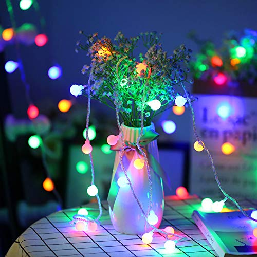 MoKo Globe String Lights, 10m/33ft 100 LED Waterproof Ball Lights, 2 Lighting Modes, Battery Powered Fairy Light for Halloween Christmas Weddings Birthday Family School Parties Décor - Multi Color