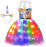 Girls Unicorn Princess Costume LED Light Up Birthday Party Outfit Halloween Tutu Dress with Headband Colorful 7-8 Years