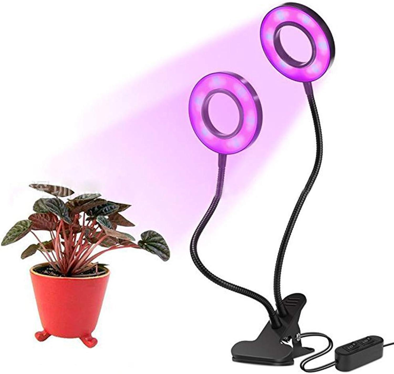 LED-Pflanzenlicht, 18W Doppelkopfklibeer Full Spectrum 2 File Dimming Plant Growth Lamp, Indoor Potted Ring Fill Light