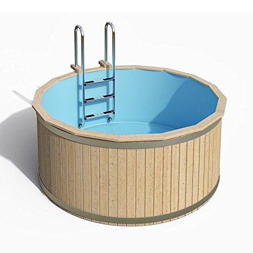 ISIDOR Swimmingpool CLEMENS mit Edelstahl-Holzleiter | 240 x 107 cm