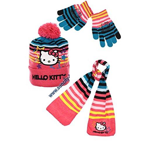 Echarpe, bonnet et gants enfant fille Hello kitty Rayé Rose de 3 à 9ans (52 (3-6 ans), Rose/bleu)