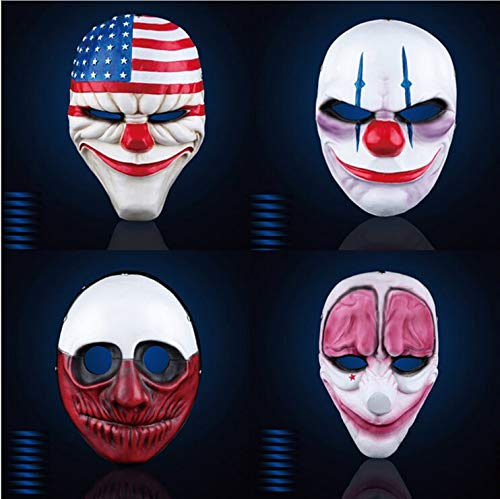 WSJDE Payday 2 Maske The Heist Dallas/Wolf/Ketten/Hoxton Cosplay Halloween Horror Kettensäge Clown Maske Maskenade Maske