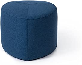 Yxsdd Sofa Stool Upholstered Ottoman Footstool Pouffe Change Shoe Stool Removable Linen Cover Living Room Bedroom,Blue (Si...