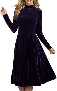 فساتين مخملية عالية الخصر للنساء ذات أكمام طويلة ورقبة عالية مطوي فستان متوسط الطول