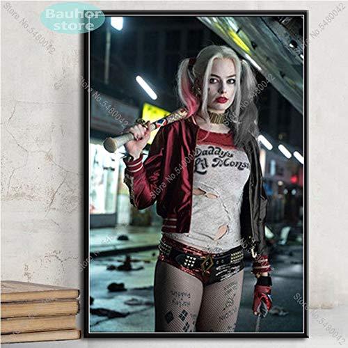 supmsds Kein Rahmen Plakate und Drucke Harley Quinn Joker Squad Art Poster Leinwand Gemälde Wandkunst Bild für Wohnzimmer Home Decor 60x90cm