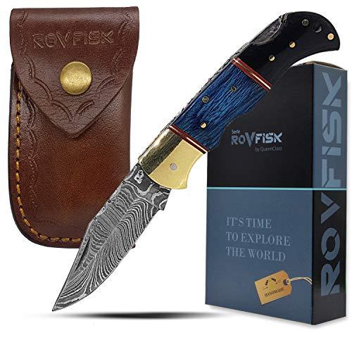 QueenClass Taschenmesser mit Damastklinge-Klappmesser Damastmesser-handgeschmiedet. Holz Griff und Ledertasche - Serie ROVFISK II (blau-schwarz)