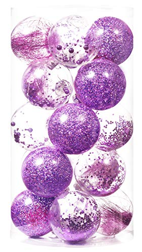 """Christmas Ball Ornaments 80mm/3.15"""" Shatterproof Clear Plastic Xmas Decoration Tree Balls for Holiday Festivals Party Decorations((20 Counts,Purple)"""