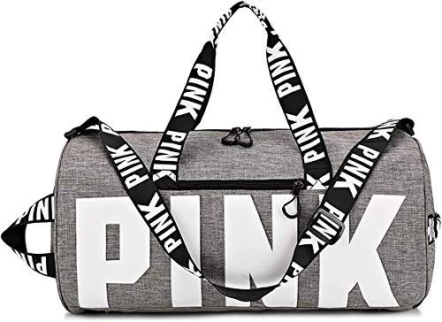 HJLIKE Gym Sports Bag,Lightweight Potable Sport Duffel Bag Canvas Shoulder Bags Large Capacity Sports Travel Duffels Multifunction Shoulder Bags Grey