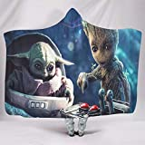 Goldragon Groot and Yoda Baby Hooded Blanket Throw Comforter Wearable Cuddle Blanket for Children Adults Kids White 60x80 inch