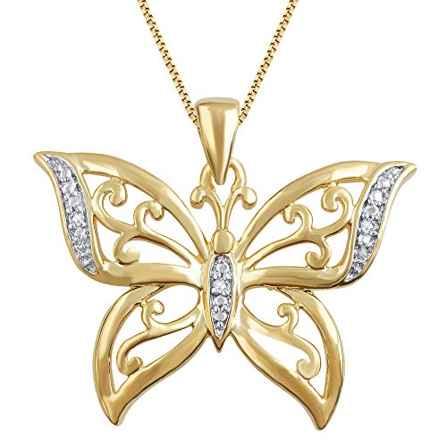 18K Yellow Gold Plated Prong Set Round-cut Diamond Butterfly Pendant Chain Necklace (I-J, I2-I3) Fashion Jewelry for Women Teen Girls  by La4ve Diamonds  Gift Box Included