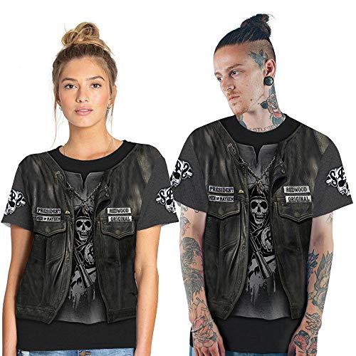 YYQX Container Heren 3D Graphic Print T-shirt doodskop leer kruiger T-shirt heren 3DT shirt korte mouwen ronde hals digitale print casual korte mouwen