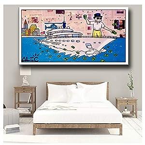 GIRDSS Alec Monopoly Wall Street Canvas Painting Prints Sala de Estar Decoración del hogar Arte Moderno de la Pared Pintura al óleo Poster Picture-60X120cm Sin Marco