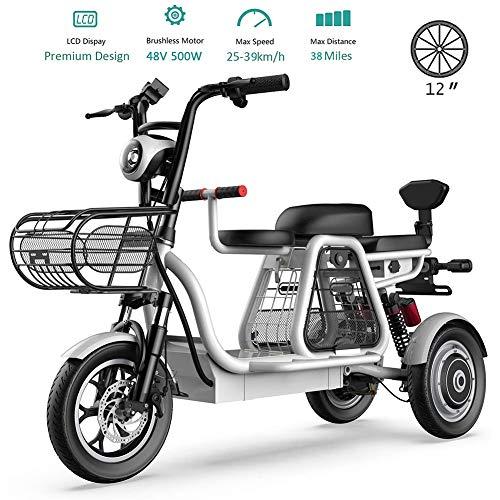 Elektrische Fahrräder für Erwachsene Mountain Roller Stable 3-Rad-Mobilität Motorroller mit Kindersitz Abnehmbare Lithium-Ionen-Batterie 48v für Senioren Einkauf Use Familie mit Kindern ,White25ah