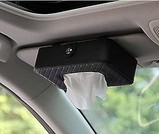 Besplore Luxury PU Leather Car Visor Tissue Holder Mount,Multi-use Paper Towel Slim Cover Case,Hanging Tissue Holder Case for Car Back Seat,Black