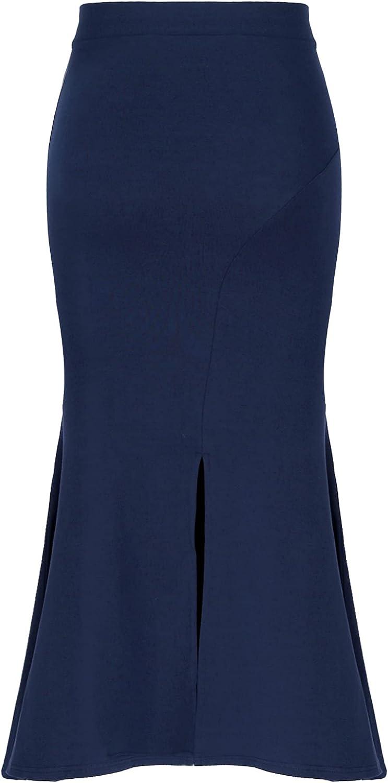 Sholeno Women Handkerchief Hemline Mermaid Skirt Back Slit Daily Casual Midi Skirts