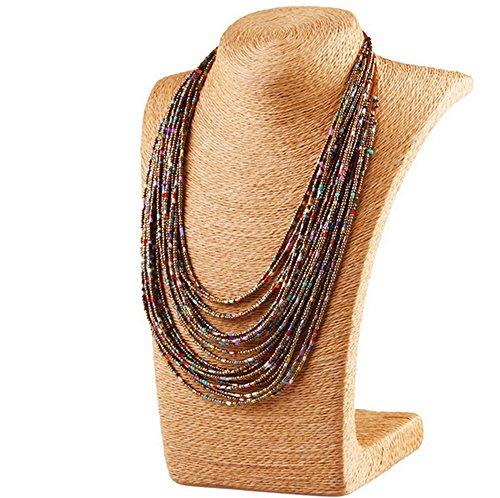 Cosanter Damen Halskette Choker Retro übertrieben personalisierte Mehrreihig Kette böhmische Perlenkette