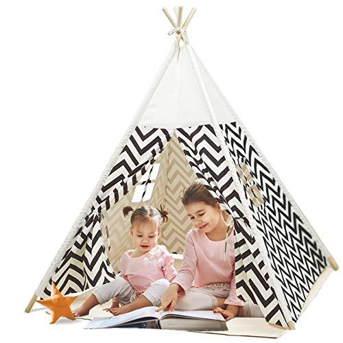 Tienda|Tipi para niños Tienda de Juegos Plegable para niños y niñas con Alfombra tapete de Felpa Casa de Juegos para niños en Interiores y Exteriores (Blanco)