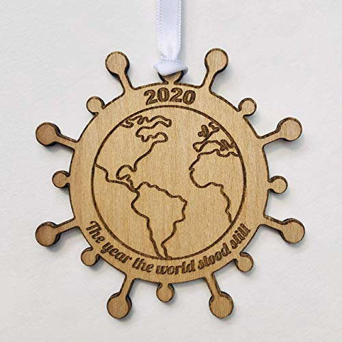 The Year the World Stood Still - 2020 Christmas Ornament - COVID Coronavirus Remembrance Keepsake Gift - With Red Ribbon and Gift Box