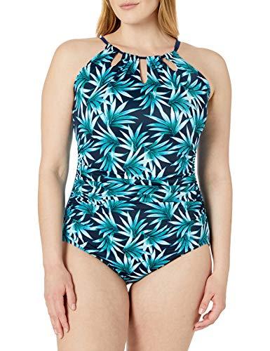 Amazon Brand - Coastal Blue Women's Plus Size Control One Piece Swimsuit, midnight cruise, 1X (16W-18W)