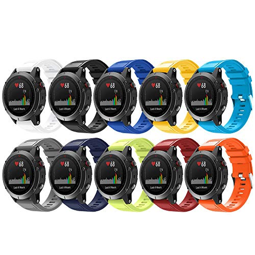 Songsier Compatible with Garmin Fenix 5 Band, 22mm Quick Fit Soft Silicone Replacement Strap for Fenix 5/Fenix 5 Plus/Fenix 6/Fenix 6 Pro/Forerunner 935/Forerunner 945/Approach S60/Quatix 5 Smartwatch