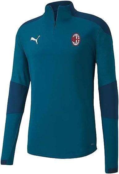 PUMA 2020-2021 AC Milan 1/4 Zip Training Top (Deep Lagoon)
