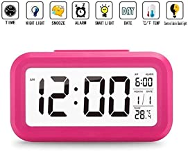 Intelligent Digital Smart Backlight Alarm Clock with Automatic Sensor,Date & Temperature,Alarm Clocks for Bedroom,Digital Clock for Home,Digital Clock (Pink)